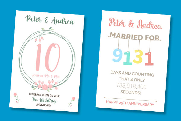 Personalised Anniversary Cards