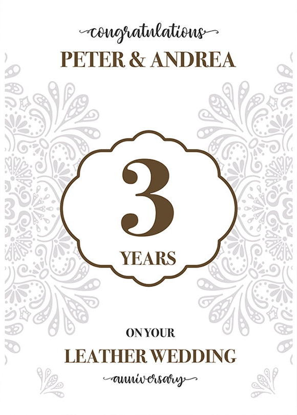 Personalised 3rd Wedding Anniversary Card (Leather Wedding Anniversary)
