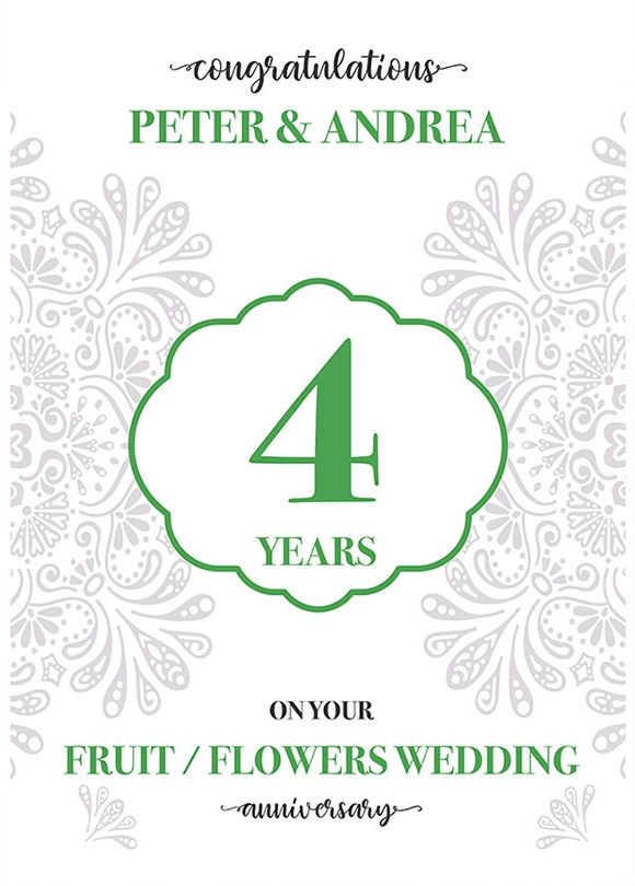 Personalised 4th Wedding Anniversary Card (Fruit / Flowers Wedding Anniversary)