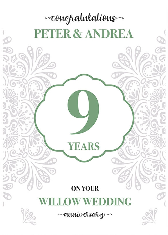 Personalised 9th Wedding Anniversary Card (Willow Wedding Anniversary)