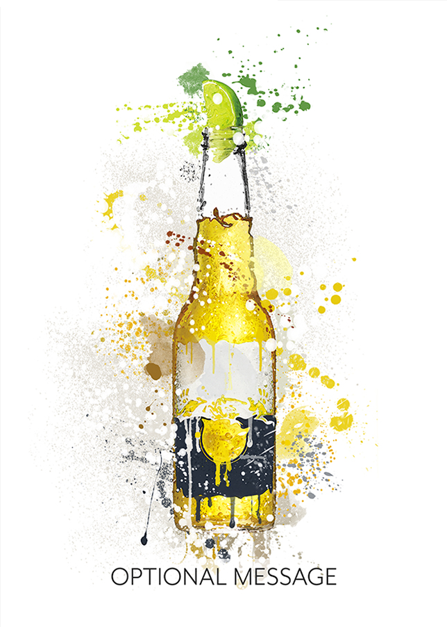 Beer Bottle with Lime Watercolour Greetings Card