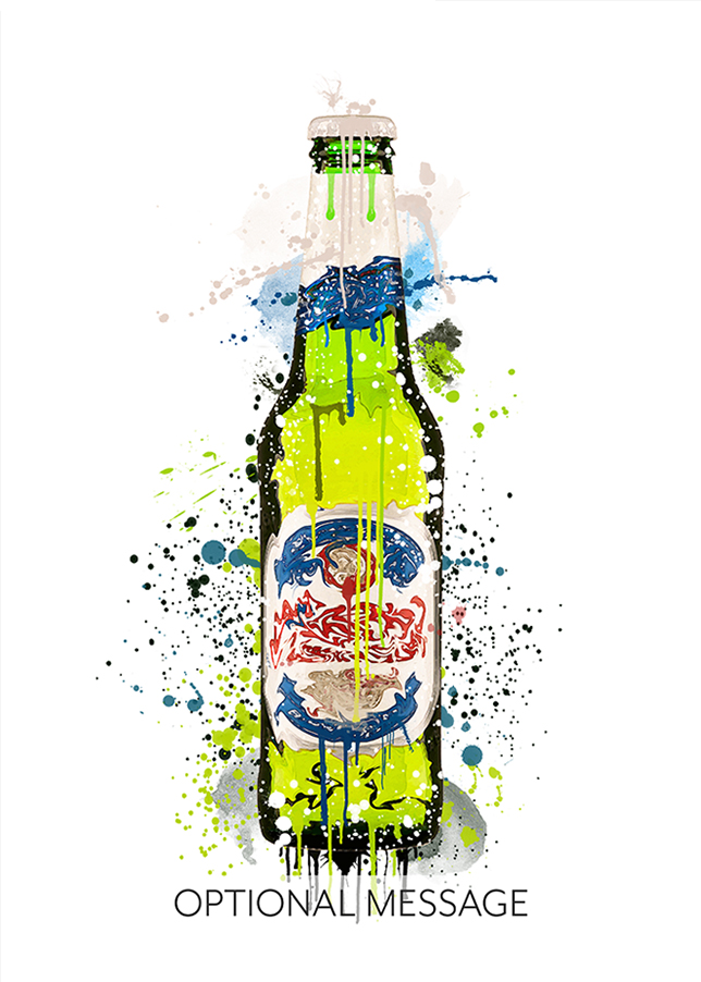Green, Blue and Red Beer Bottle Watercolour Greetings Card