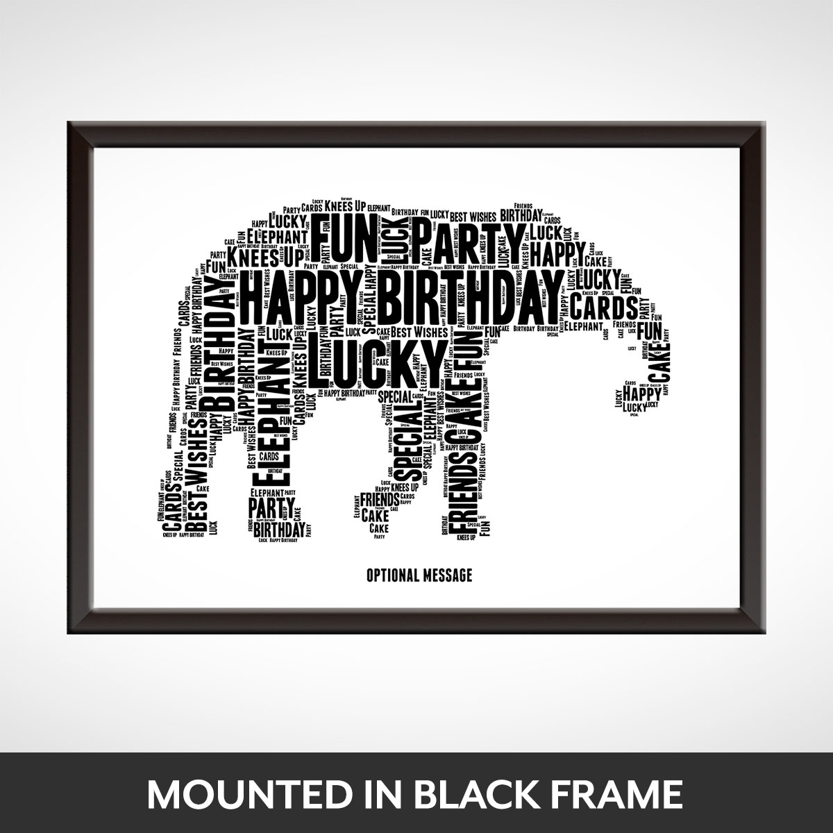Lucky Elephant Word Art Print